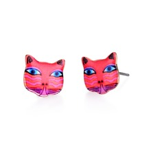 Red Tone Ethnic Cat Earrings for Women Cartoon Cat Stud for Party Girls