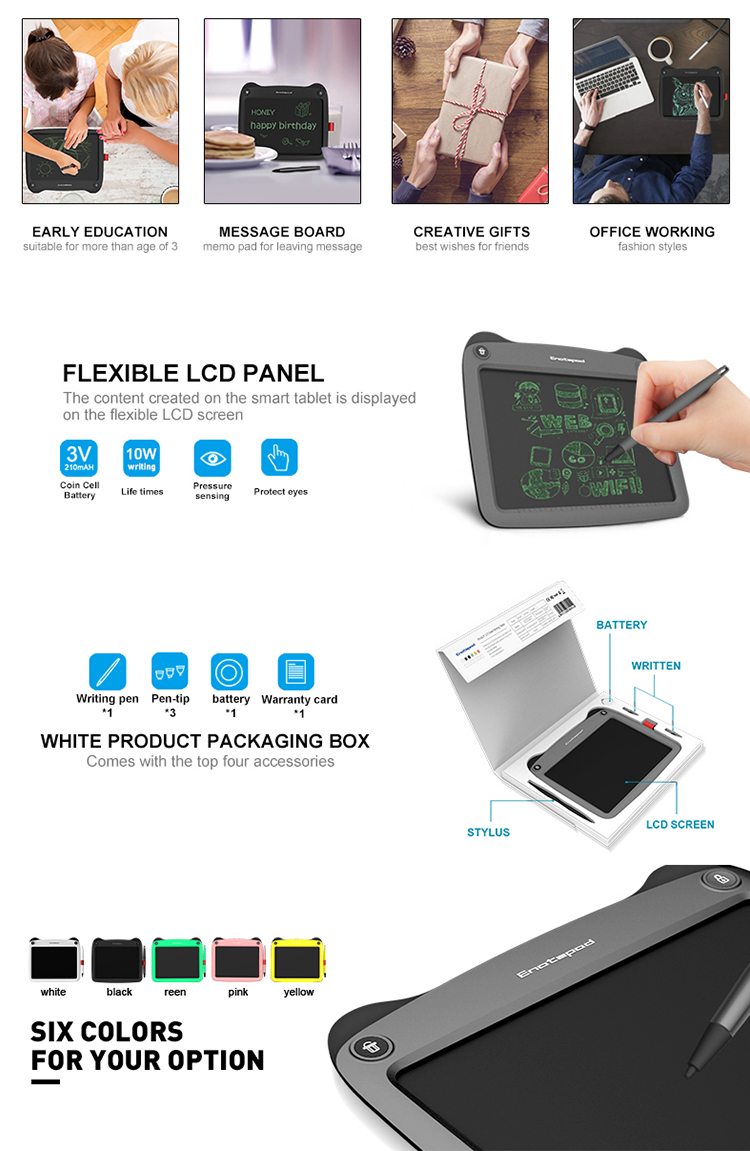 Electronic Writing Board Children Writing Pad ABS LCD Material and Memo Pads Style with Replaceable Pen