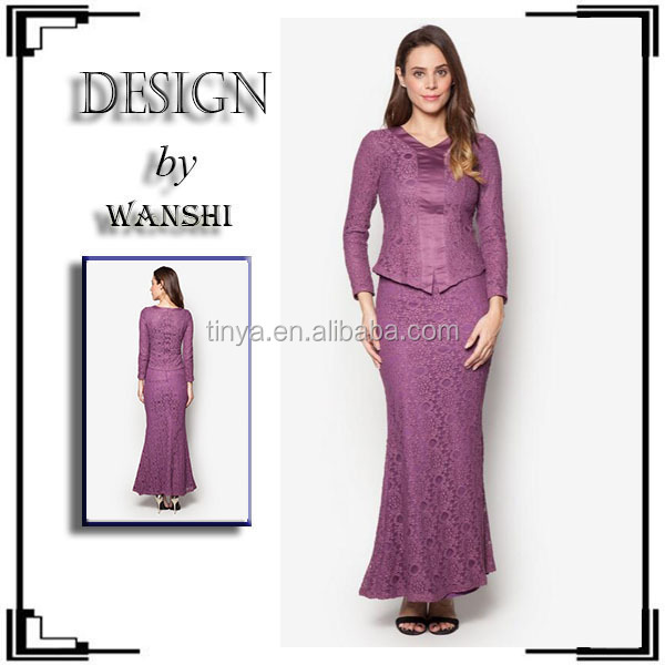 Hot sale kebaya modern indonesia 2016 latest fashion lace design baju kurung modern