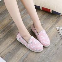 New design ladies ballet flats cotton breathable woman slipper flat indoor slippers
