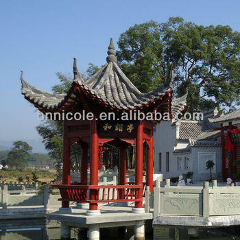 high quality wooden temple for home house roof model Chinese style wall roofing tile