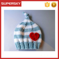 V-33 Cute knit knotted newborn stripe winter baby beanie hat with heart,hand knit winter benaie hat