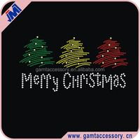 Merry Christmas tree Rhinestone Iron on Transfer Hot fix Motif crystal Fashion Design