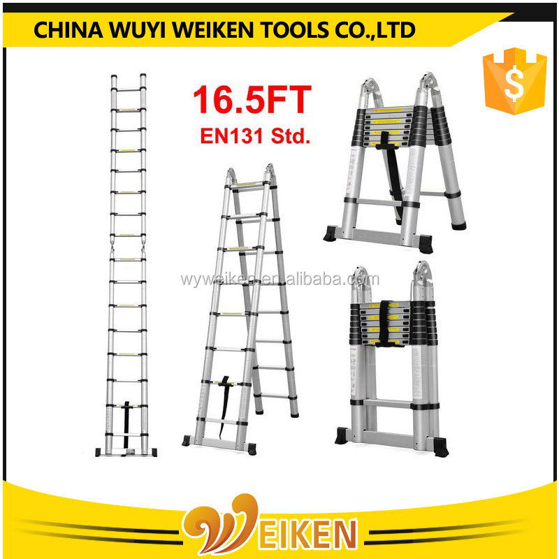 EN131 Approval 3.8m finger safety protection Telescopic Extending Ladder