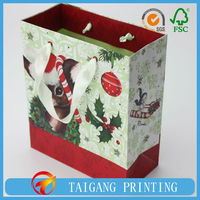 128g white wood free paper gift bag pack with cellobags pasted on front and rear with label