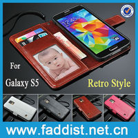 Retro wallet case for Samsung Galaxy S5 case High Quality PU leather case