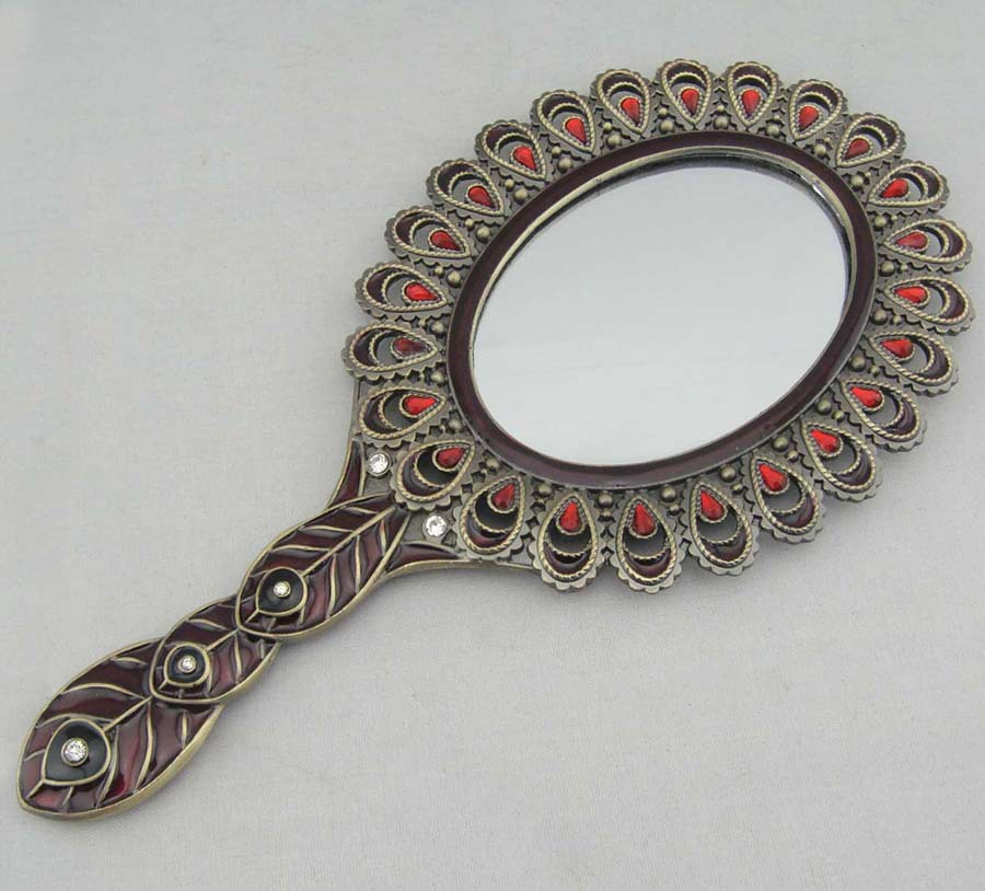 Anti-Bronze Jeweled Pewter (Metal) Hand Mirror With Crystal (P04162a1)