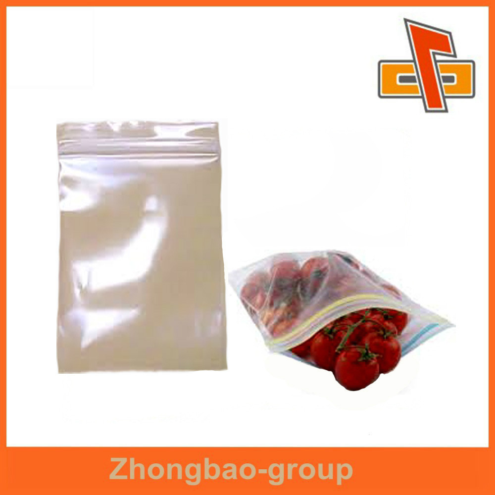 packaging material food grade transparent plastic zipper food bag for fruit and vegetables