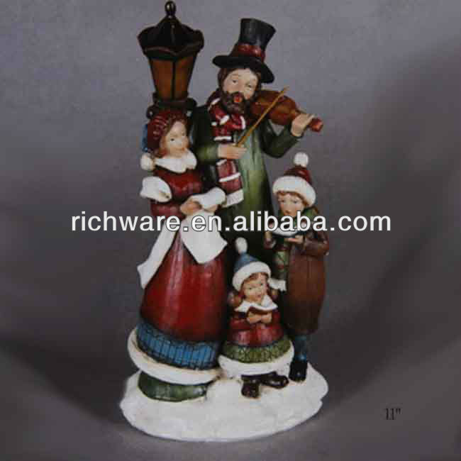 Christmas Resin Carollers Figurines with Light for Decoration