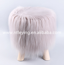 Europe faux fur pouf home goods ottoman fur stool with competitive price LYF003