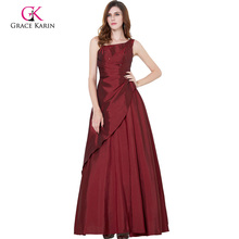 Grace Karin Mature Ladies Sleeveless Long Burgundy Mother of the Bride Dress CL6078