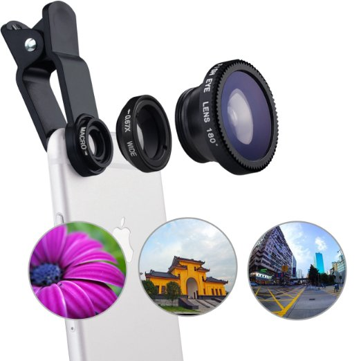 Popular Universal clip fisheye 3 in 1 Camera Lens Kits for smartphone camera lens Kits for iphone samsung xiaomi Fish Eye Lens