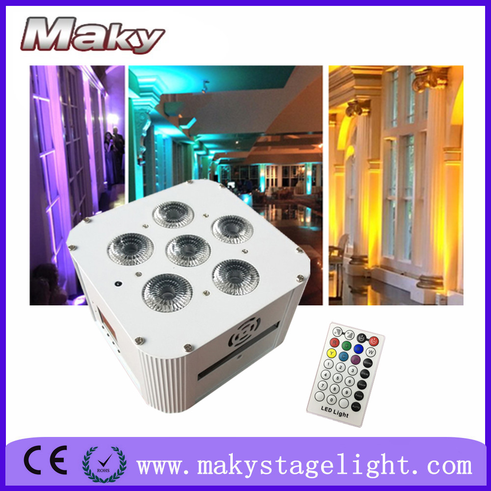 MAKY MQ-G119 6pcs 18w led RGBWAUV wireless dmx 6in1 battery operated led square uplights backdrop with led lighting