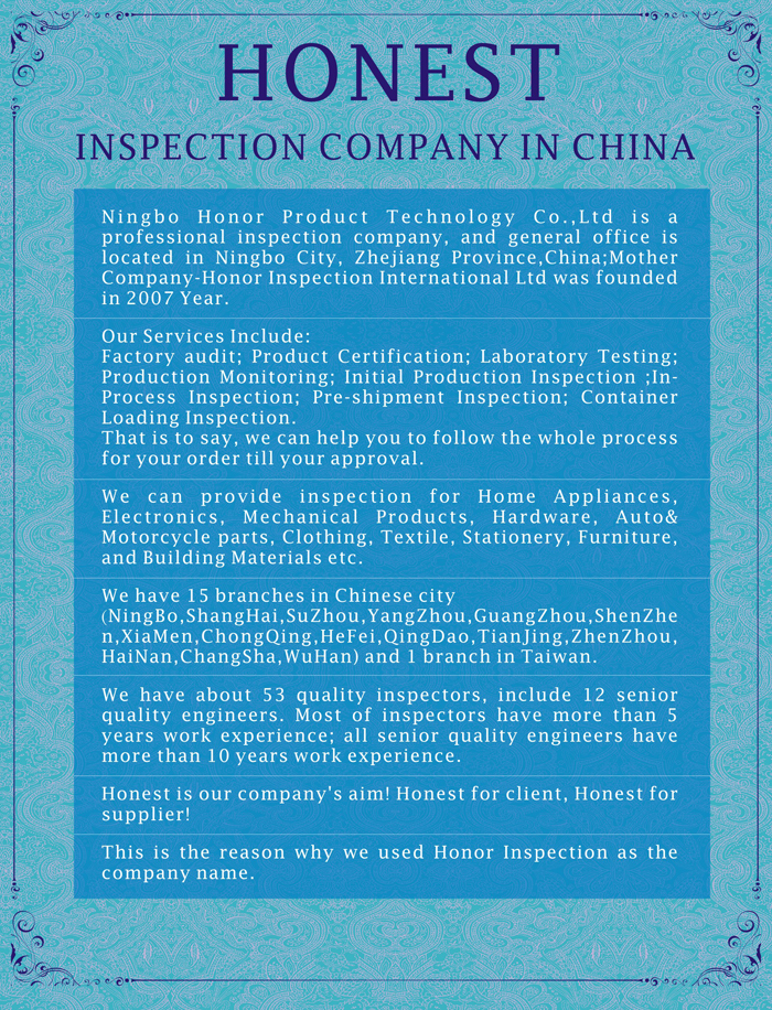 Honor Professional Initial production inspection company in China