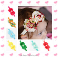 Double Shabby Chic Flower Headbands With Rhinestone Center Baby Headbands Infant Girls Flower Hairband