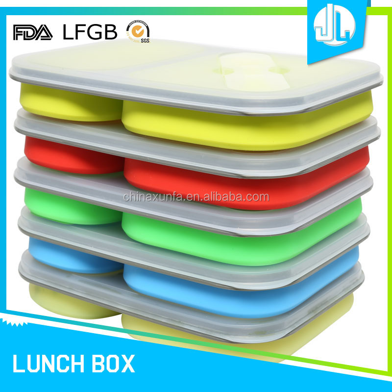 Collapsible silicone kitchen portable school freezer simple food container