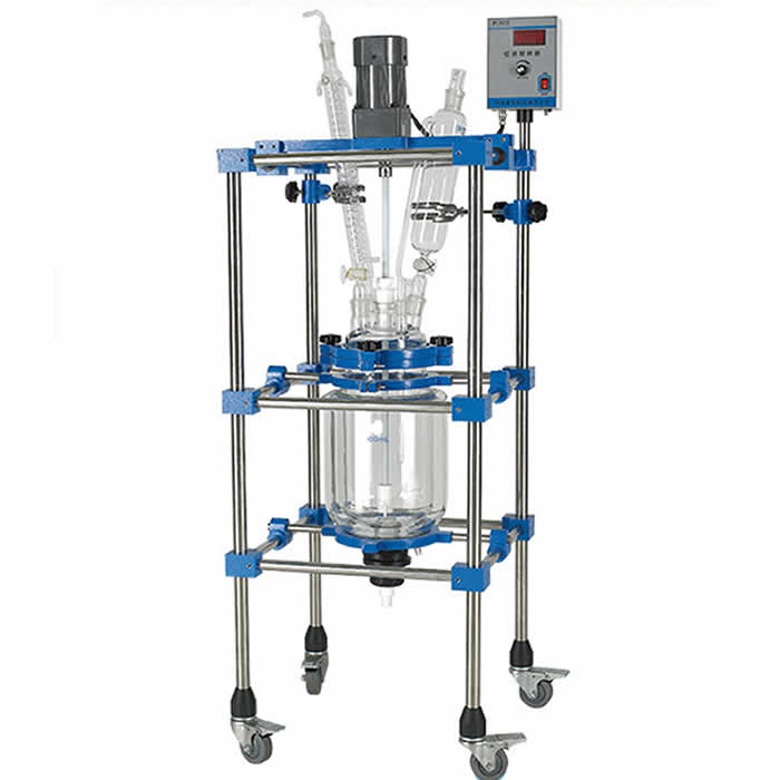 Laboratory Double Layer Explosion-Proof 50L Glass Jacketed Reaction Vessel/Reactor with PTFE Mixing Paddle