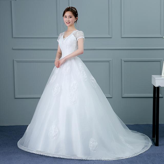 ZH03391B Korean princess long floor length short sleeve Bride wedding dress