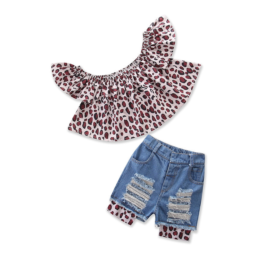 Kids girl leopard print top leopard hole ripped patchwork <strong>jean</strong> shorts clothing set