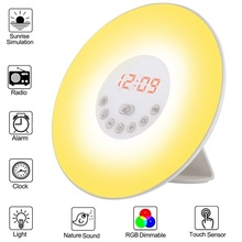 Alarm Clock Wake Up Light Sunrise Sunset Simulation with FM Radio Natural Sounds and Snooze Function