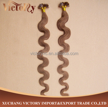 Unprocessed 100% Cambodian Hair Extension in Flat tip Hair Pro-bonded Italian Keratin
