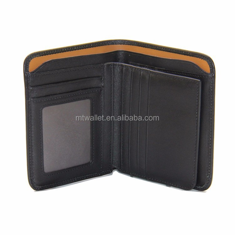 New Vintage Man Wallets Black Colors Mens Leather Three Style Wallet Card Holder Pocket Purse Hot Solid Color Fashion