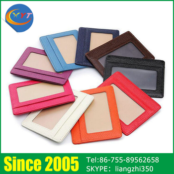 Customized Colorful Business Name ID PU Genuine Leather Card Holder