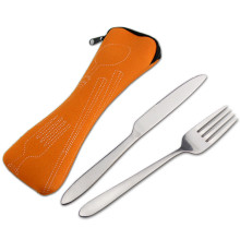 Malaysia Promotional Gift cutlery set travel camping stainless steel fork and spoon in pouch