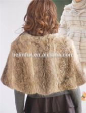 Hot Selling Girls Soft Fluffy Small Genuine Rabbit Fur Cape Real Fur Poncho