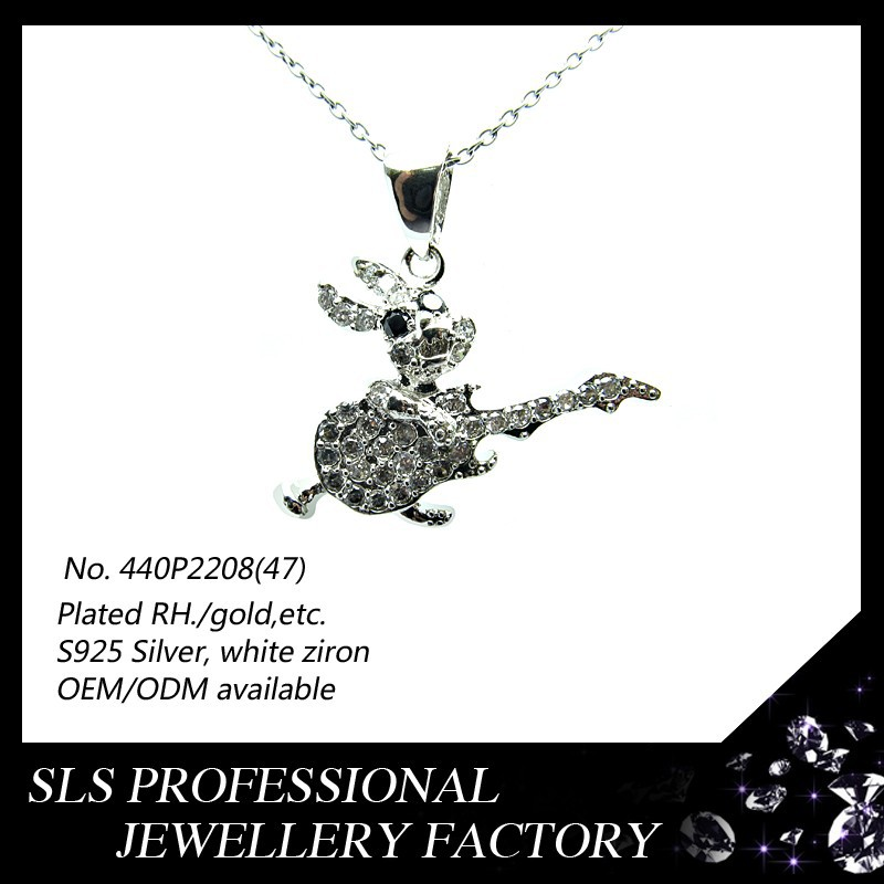 2015 fashion jewelry silver white gold plated diamond rabbit pendant necklace new animal design pendants for boys and kids