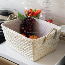 handmade storage basket made by straw with handles,wicker basket