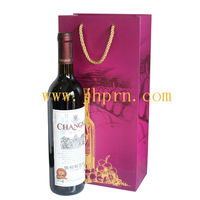 luxury red wine paper gift bags for double wine glass
