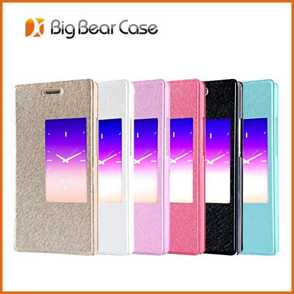 Silk texture flip leather cell phone case for huawei ascend p7