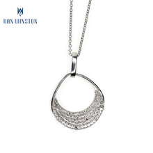 Elegant women round shape crystal white gold fashion necklace set