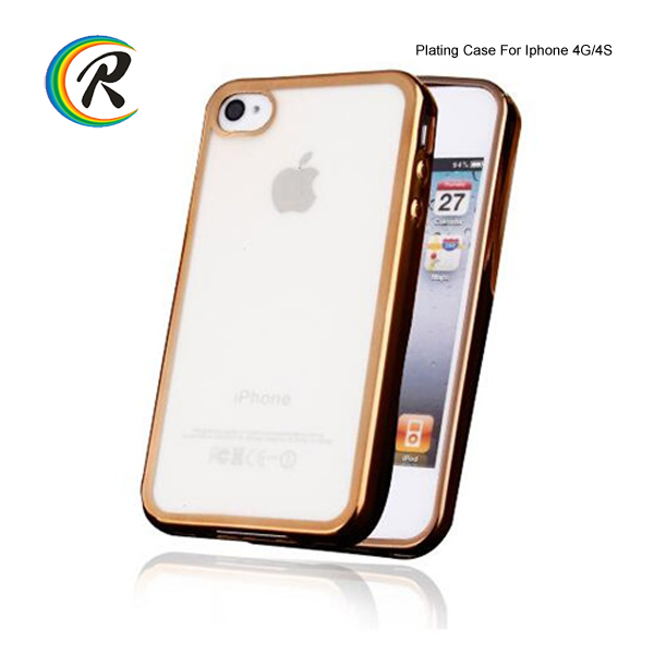 Crystal transparent waterproof phone electroplated case for iPhone4 clear electroplating tpu case