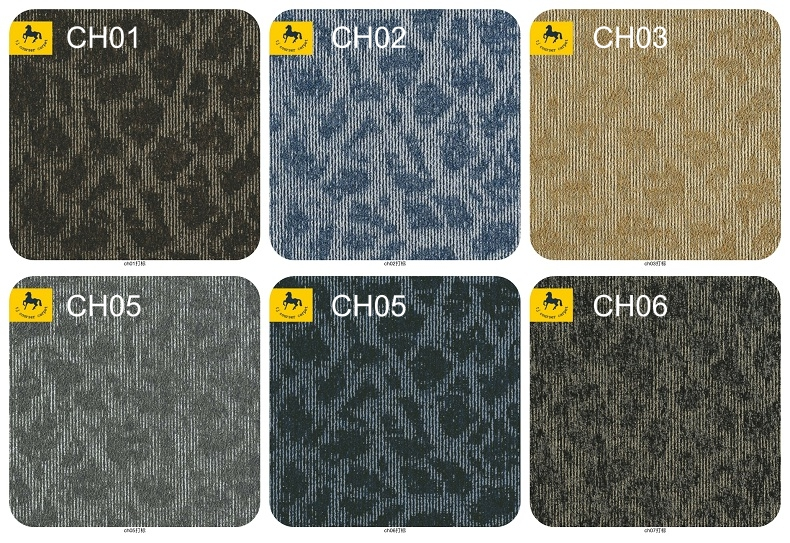 High Quality 50x50cm Nylon Commercial Carpet Tile With PVC Backing For Office