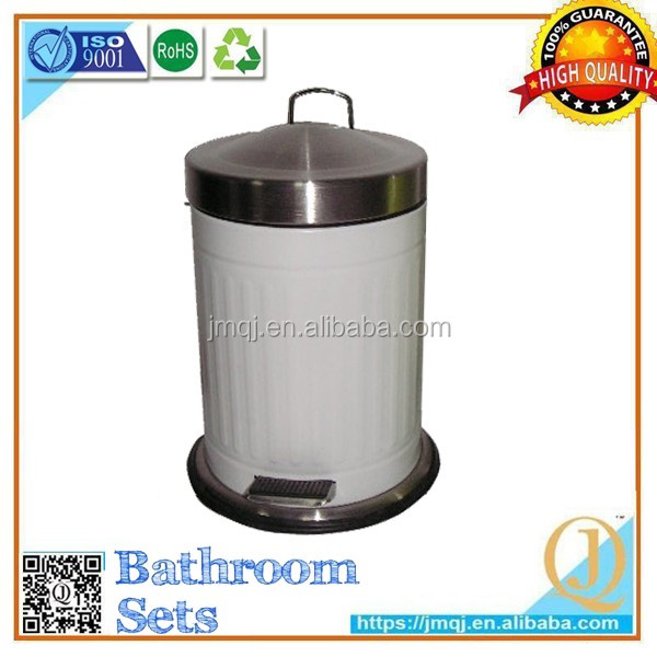 high quality intelligent white painting large size pedal garbage bins