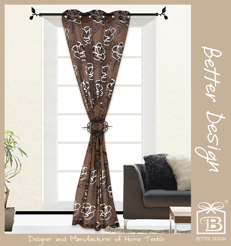 1Pc 100% Polyester Modern Beautiful Brown Faux Silk Flocking Curtains in Lahore Pakistan for Home Design