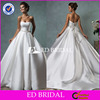 High Quality Satin Strapless Ball Gown Wedding Dress 2016 With Ribbon