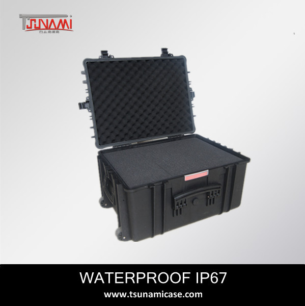 sturdy equipment case No.584433 IP67 waterproof and shockproof hard plastic storage case with handle