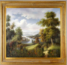 Vintage Oil Painting with Wood Frame, Scenic Trees Lake Home Decor Art