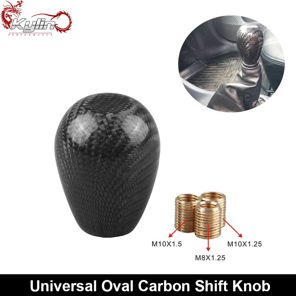 Ryanstar Racing Oval Carbon Fiber Automatic Gear Shift Knob With 3 Adapter For Universal Car