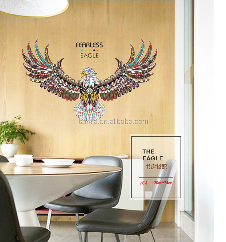 New product Wall Art Modern Creative wall sticker eagle for room decorative removable large size wall Sticker