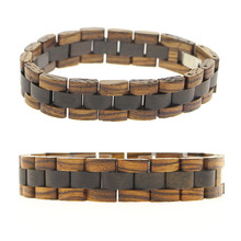 5 Color Wood Link Your Logo Personalized Segmented Natural Real Ebony Chinese Good Wood Bracelet