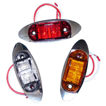 "12V 2.5"" Oval LED Side Marker Lights with Chromed Bezels"