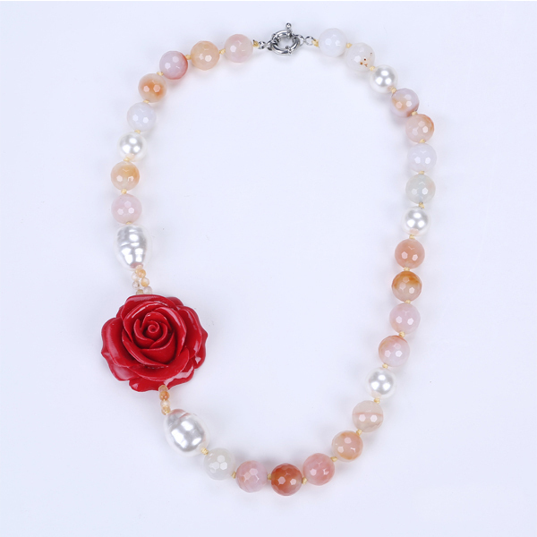 fashion shell bead with red flower resin jewelry