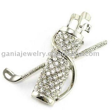 Sport Jewelry Golfbag Brooch