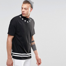 Cotton t-shirts wholesale distributors black basic with stripe decorate t shirts for men