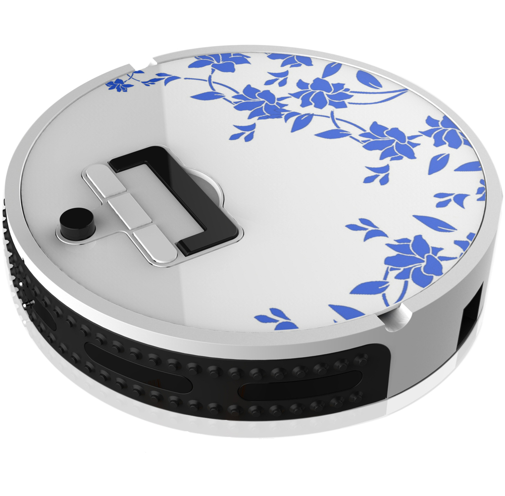 Customized robotic vacuum cleaner with blue and white porcelain design
