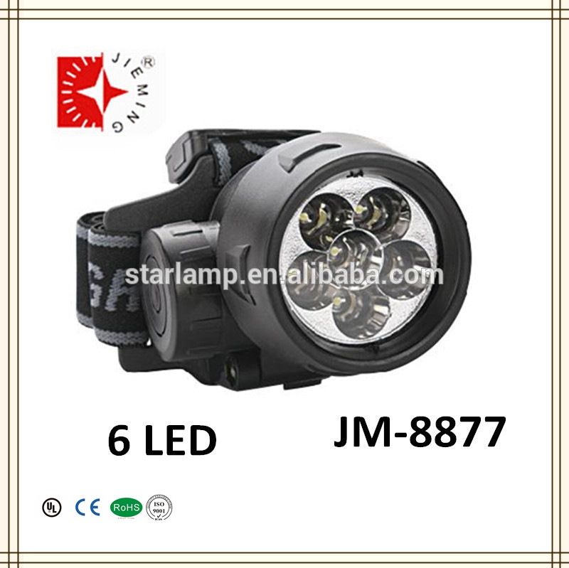 6 pcs white led high power head lamp for hunting/ cap light